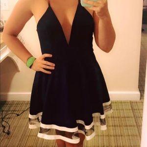 Street Heart Blue Dress w/ Plunging Neckline SZ 6